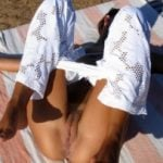 Flashing Tanned Pussy on Beach