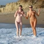 Happy Nudist Girls on Beach