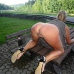 Hot MILF on all fours in Park