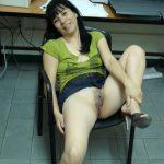 Indonesian Secretary Revealing Pussy