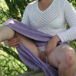 Mature Lady Flashing Cunt Under Skirt