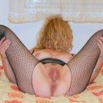 my pussy legs open with fishnets