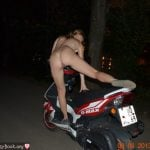 Nude Babe Riding Motorcycle at Night