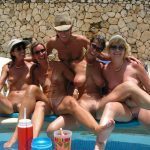 Nude Matures fun at the Pool