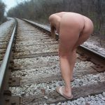 Nude Woman Train Tracks