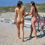 Nudist Girls Walking on Beach