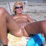 Nudist Wife Spreading Legs on the Beach