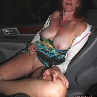 old wife flashing pussy in car