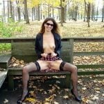 revealing pussy and tits in the park