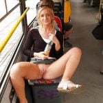 revealing pussy in the tram