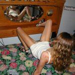 Teen Girl Mirroring Her Hairy Cunt
