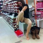 Trying Shoes Upskirt Pussy