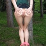 Very Thin Girl Spreading Ass in Forest