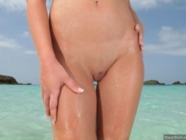 wet-pussy-on-the-beach-shaved-vulva-closeup