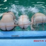 Women Dropping Bare Asses in Pool