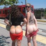 Women Flashing Butt Cracks in Tram Station