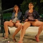 Women Flashing Pussies on Bench Outdoor